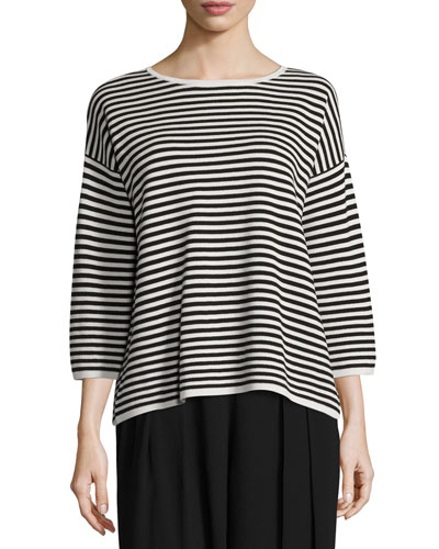 Striped 3/4-Sleeve Interlock Top, Bone/Black, Plus Size