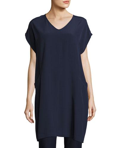 Short Sleeve Crinkle Crepe Tunic, Plus Size