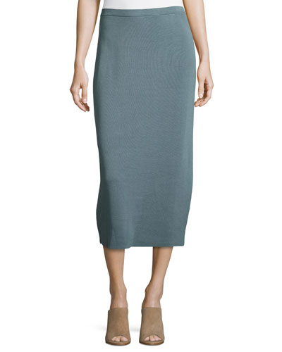 Washable Silk/Cotton Midi Pencil Skirt, Blue Steel, Petite