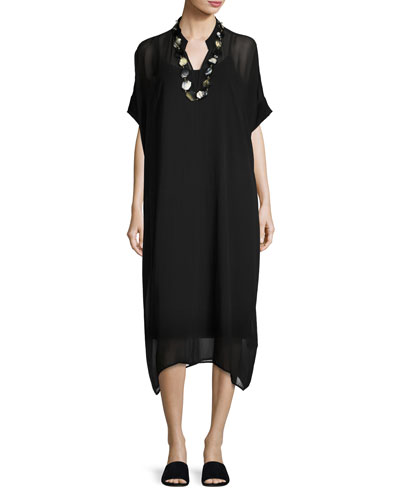 Long Boxy Sheer Silk Dress, Black