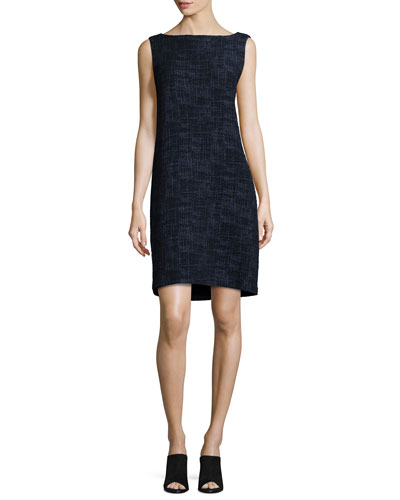 Sleeveless Crosshatch Shift Dress, Midnight, Plus SIze