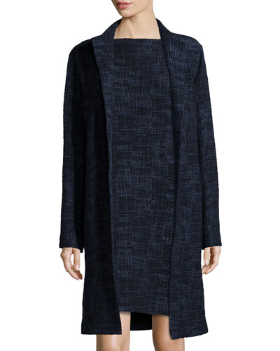 Long Crosshatch Topper Jacket, Midnight, Plus Size