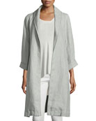 Journey Long Délavé Linen Topper Jacket, Dark Pearl
