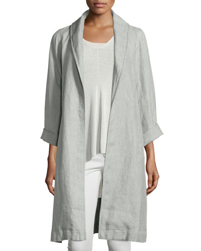 Long Sleeves Linen Coat | Neiman Marcus