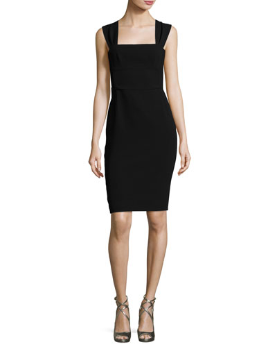 Sleeveless Bow Tie-Back Sheath Dress, Black