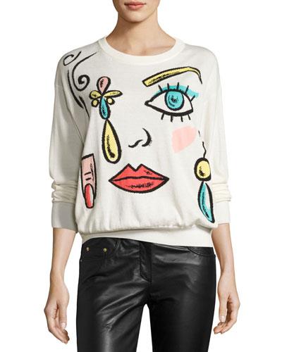 Fantasy-Print Crewneck Sweater, White