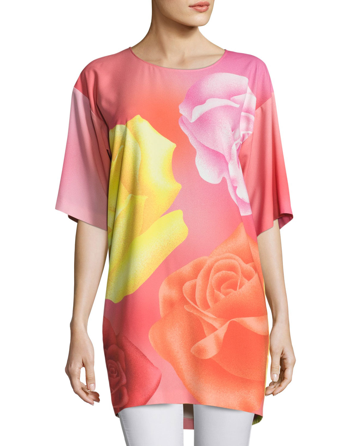 Half-Sleeve Fantasy Rose-Print Long Blouse, Pink