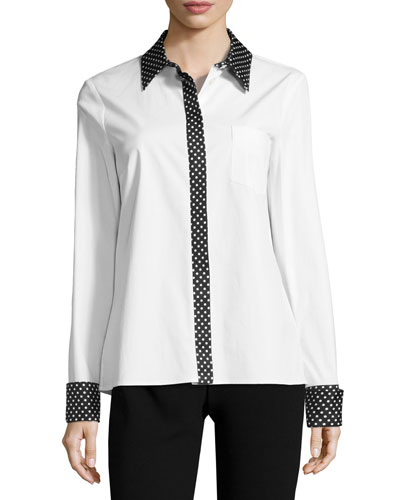 Dot-Trim Poplin Shirt