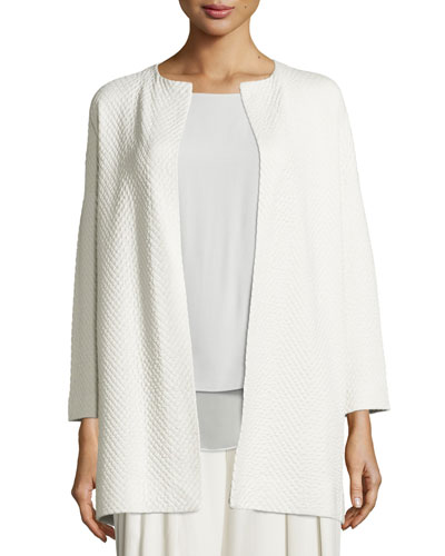 Long Jacquard Topper Jacket, Bone, Plus Size