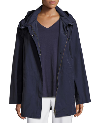 Nylon Jacket with Hood, Midnight, Petite