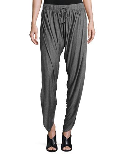Shirred Drawstring Harem Pants, Charcoal Heather