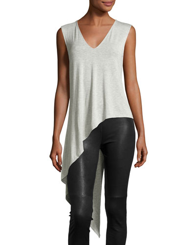 Sleeveless Asymmetric V-Neck Top, Light Heather Gray