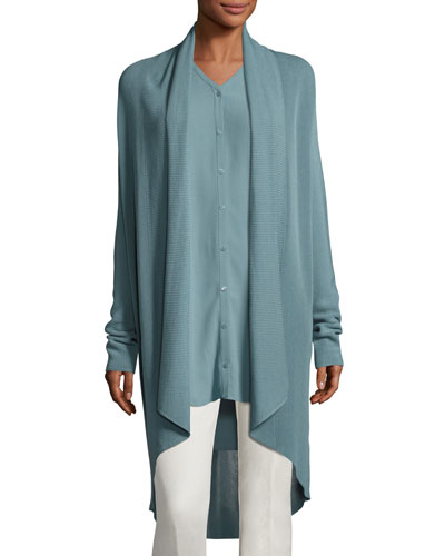 Tencel® Draped-Front Long Cardigan