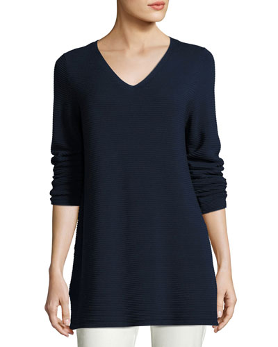 Long-Sleeve Textured V-Neck Tunic, Midnight, Petite