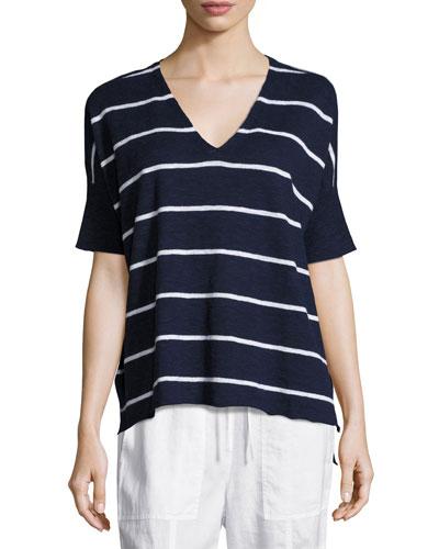 Striped V-Neck Short Sleeve Top, Petite