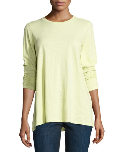 Long-Sleeve Slubby Organic Jersey Top, Plus Size