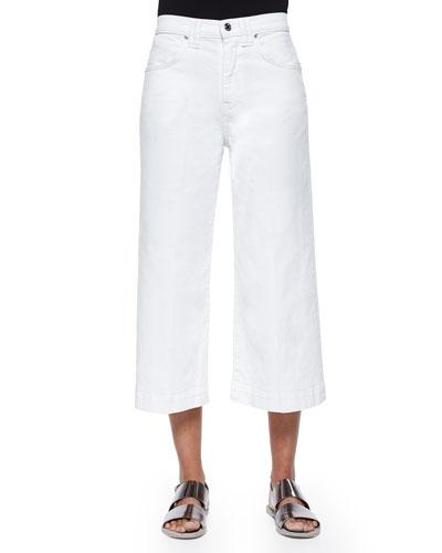 Runway Wide-Leg Denim Culottes, Runaway White