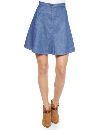 Suki Denim A-Line Skirt, Rinse