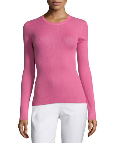Long-Sleeve Cashmere Sweater, Peony