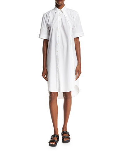 Mara Half-Sleeve Poplin Shirtdress, White