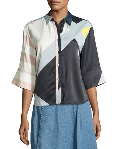 Toriya Short-Sleeve Printed Satin Blouse, Multicolor