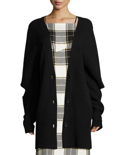Toni Cutout Ribbed Wool-Blend Cardigan, Black