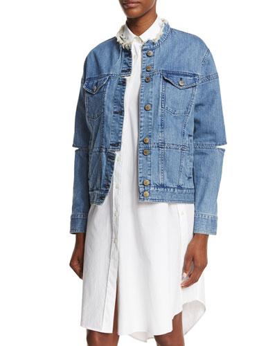 Dani Cutout Denim Jacket, Blue