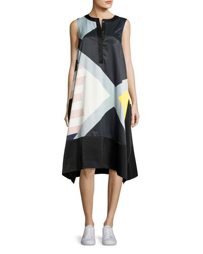 Cyra Sleeveless Printed Satin Swing Dress, Multicolor