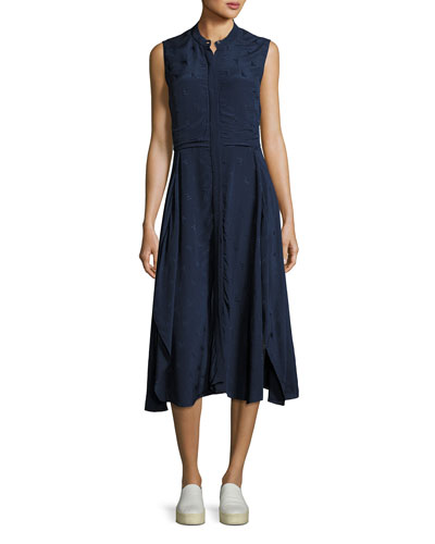 Casside Sleeveless Jacquard Midi Dress, Blue
