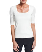 Akris punto Square-Neck Half-Sleeve Top & Madison Straight-Leg