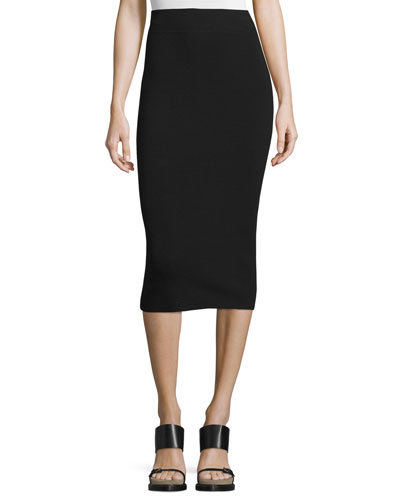 High-Waist Midi Pencil Skirt, Black