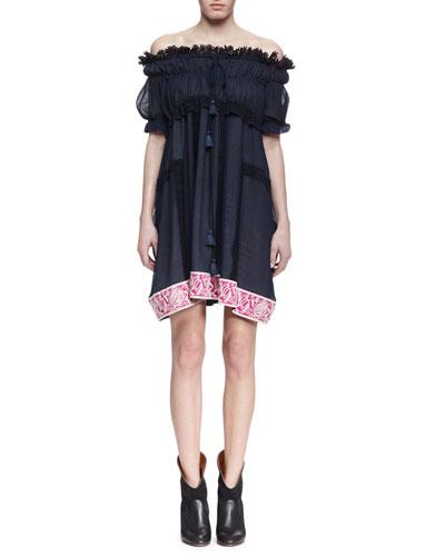 Off-The-Shoulder Contrast-Hem Dress, Navy