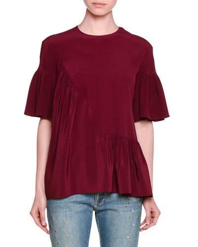 Short-Sleeve Ruffled Silk Top, Raspberry