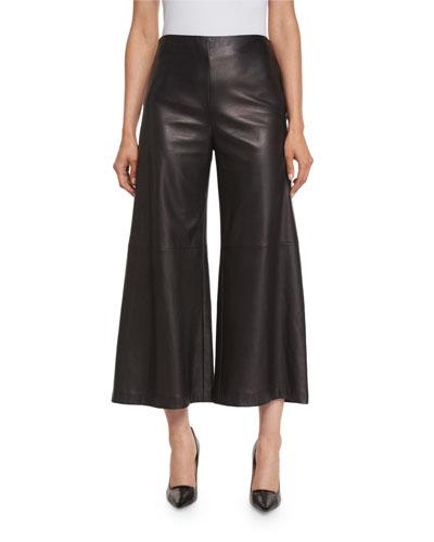 Plonge-Leather Wide-Leg Culottes, Black