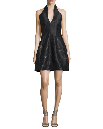 Metallic Jacquard Halter Dress, Black