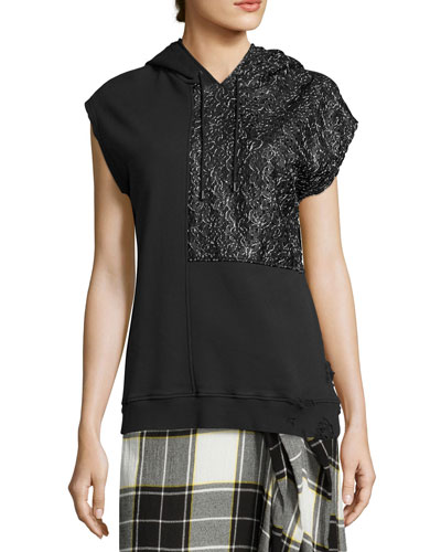 Bice Cap-Sleeve Lace & French Terry Hooded Sweatshirt, Black