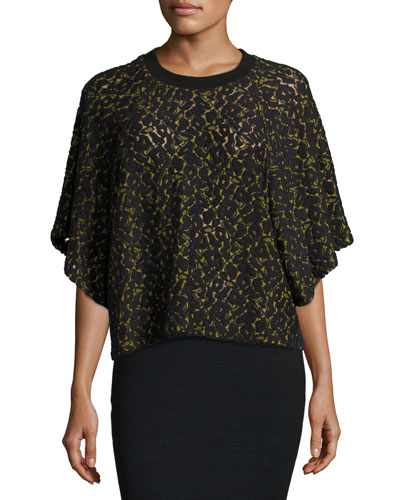 Anda Butterfly-Sleeve Lace Top, Black/Yellow
