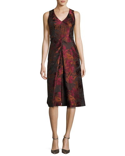 Sleeveless Floral Jacquard Cocktail Dress, Red