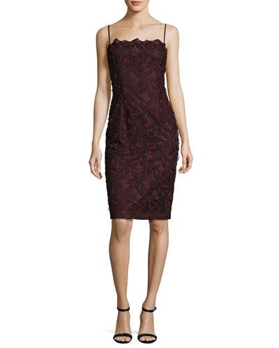 Sleeveless Geometric Lace Sheath Dress, Metamorphosis