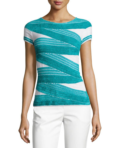 Chenille Striped Short-Sleeve Sweater, Azure/White