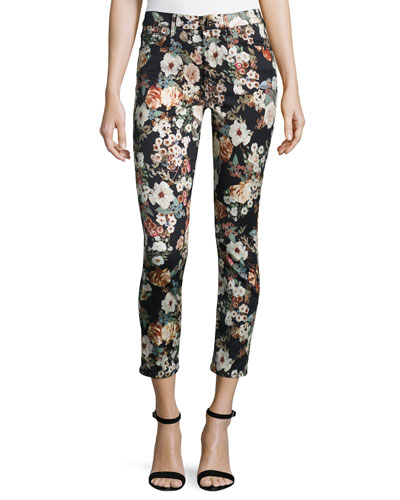 Garden Romance Floral-Print Skinny Ankle Jeans, Multi