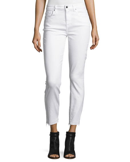 Jen7 by 7 for All Mankind Skinny Ankle Jeans w/ Released Hem, White