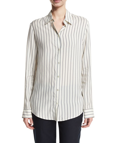 Peter Striped Silk Blouse, White Pattern