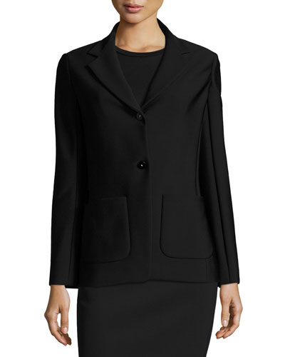 Leony Scuba Two-Button Jacket, Black