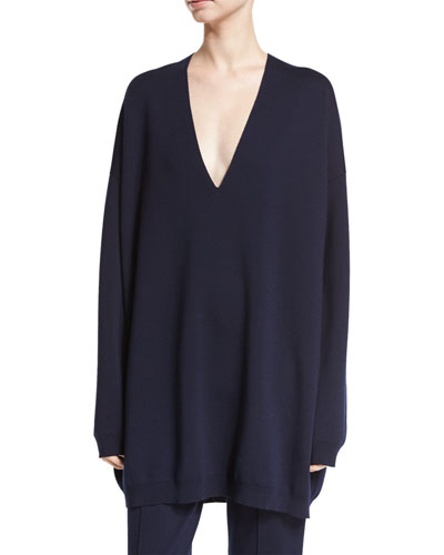 Miru Deep-V Sweater, Navy