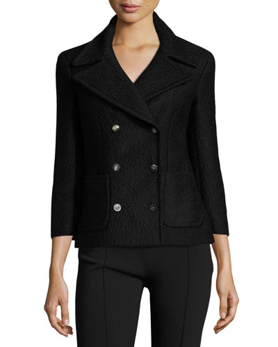 Nori Double-Breasted 3/4-Sleeve Jacket, Black