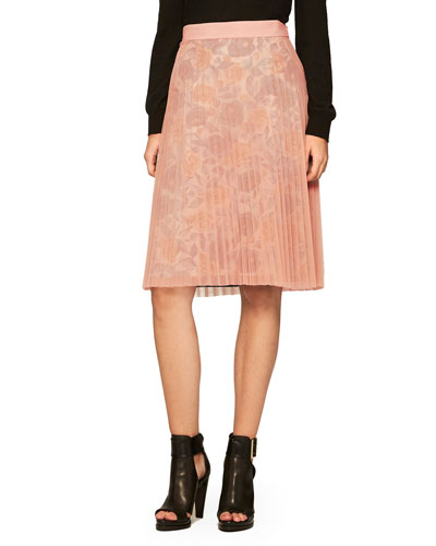Floral Pleated Tulle Skirt