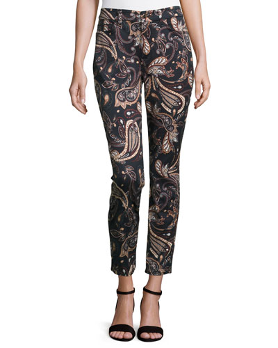 Paisley-Print Skinny Ankle Jeans, Multi