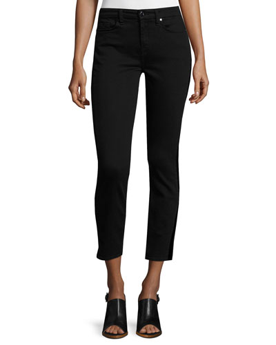 Riche Touch Skinny Tux Ankle Jeans, Black