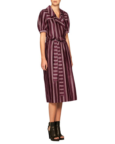 Panama Striped Faux-Wrap Dress